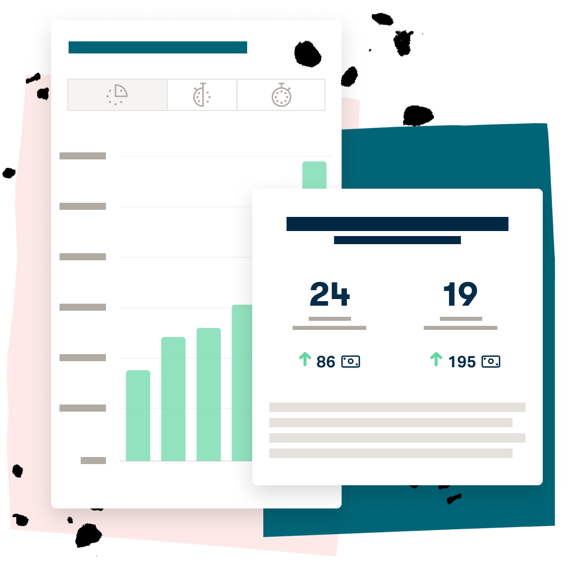 Charts and features illustrating business growth
